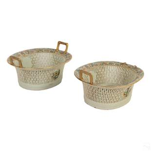 Chinese Famille Rose Porcelain Reticulated Baskets