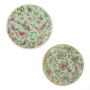 Chinese Export Famille Rose Celadon Ground Plates