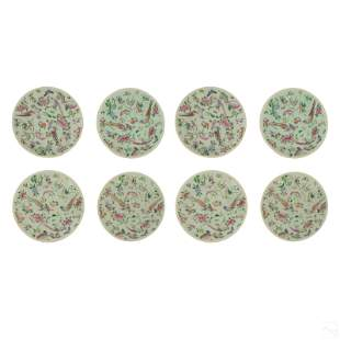 Chinese Export Famille Rose on Celadon Plates Set