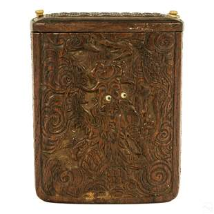 Chinese Antique Carved Wood Dragon Keepsake Box