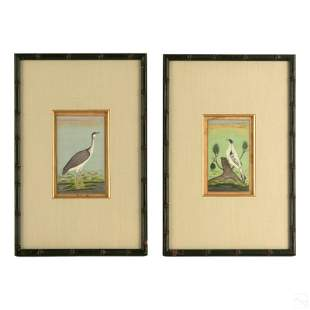 Chinese Waterfowl Birds Gilt Watercolor Paintings