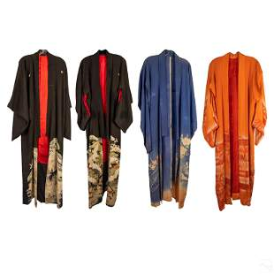 Japanese Flora Embroidered Silk Kimonos Estate Lot