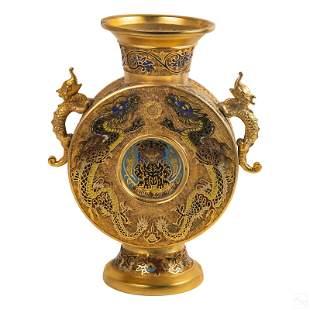 "Japanese 13"" Dore Bronze & Champleve Dragons Vase"