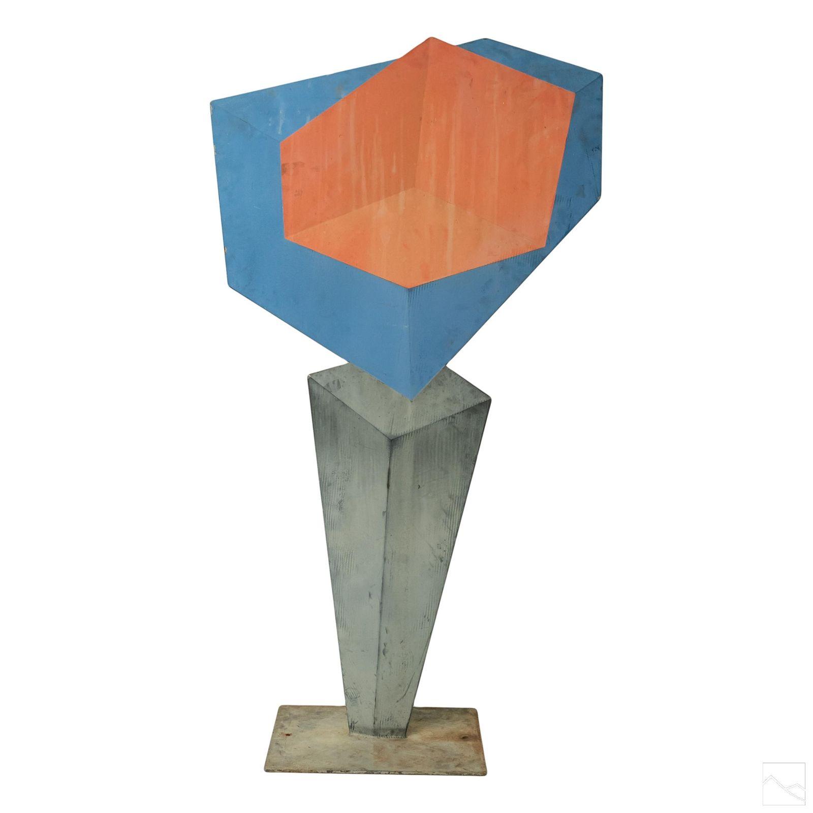 Monumental Op Art Abstract Geometry Iron Sculpture