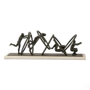 Modern Bronze Acrobat Figural Rings Art Sculpture