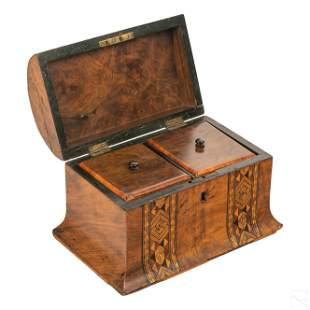 English Regency Antique Hinged Mahogany Tea Caddy