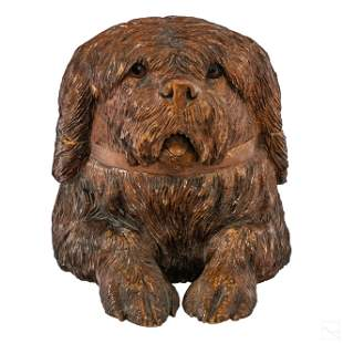 Black Forest Wood Hand Carved Hunting Dog Humidor
