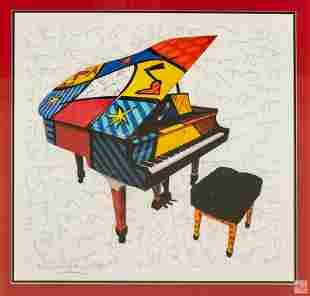 Romero Britto (b.1963) Pop Art Piano Giclee w/ COA