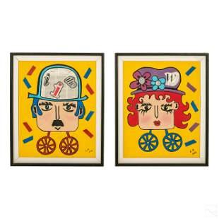 Pair of Modern Naive Outsider Folk Art Paintings