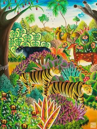 Jerome Polycarpe b.1950 Haitian Folk Art Painting