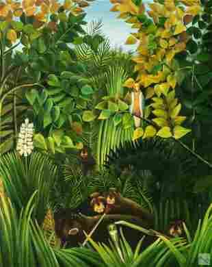 20C Haitian Folk Art Jungle Landscape Oil Painting