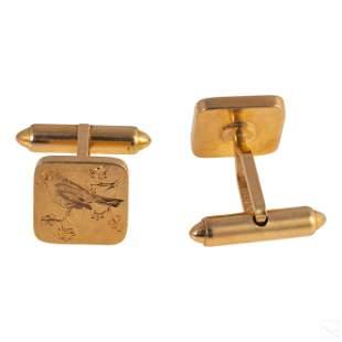 14K Gold Intaglio Cufflinks Worn by Jose Ferrer