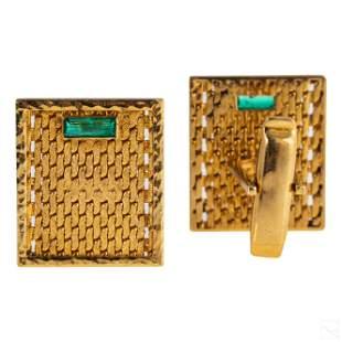 18K Gold Pair Emerald Basket Weave Mens Cufflinks