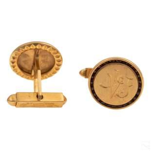 14K Gold Lucien Piccard Monogram Garnet Cufflinks