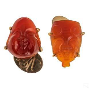14K Gold Mens Chinese Carved Carnelian Cufflinks