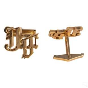 14K Gold Jose Ferrer JF Block Monogram Cufflinks