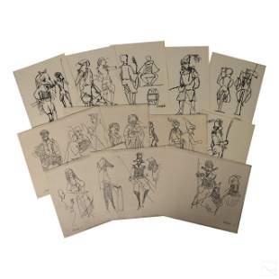 Dong Kingman (1911-2000) Quixote Broadway Drawings