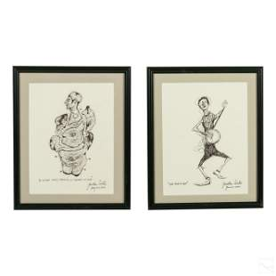 Jonathan Winters (1925-2013) Ink Portrait Drawings