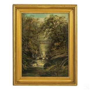 Hudson River School Antique Landscape Oil Painting