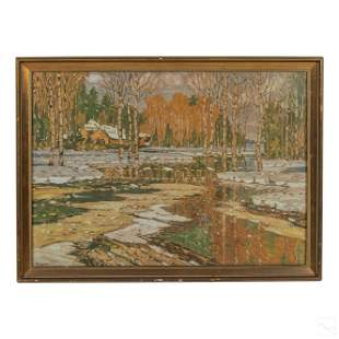 Charles Kaelin 1858-1929 Winter Landscape Drawing