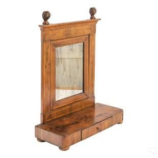 Antique Wood Shaving Mirror Vanity Stand w/ Drawer