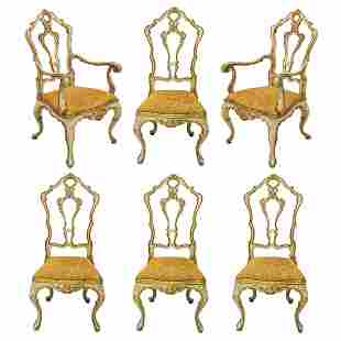French Provincial Gilt Floral Dining Room Chairs
