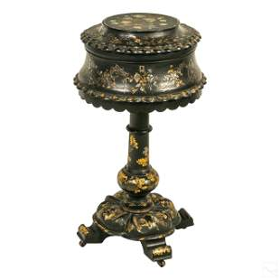 Victorian Antique Inlaid Sewing Box Notions Stand