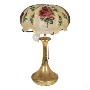 Pairpoint Red Roses Floral Puffy Shade Table Lamp