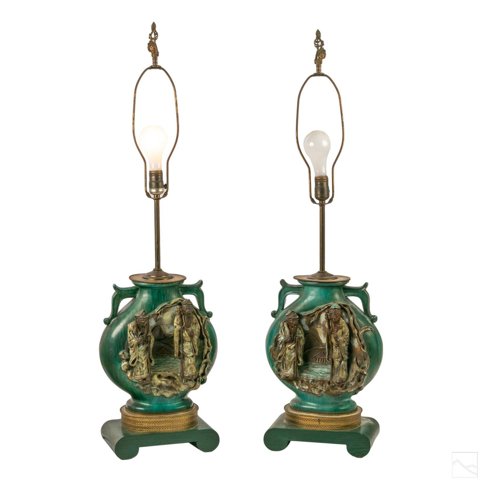 Marcello Fantoni Chinese Ceramic Moon Flask Lamps