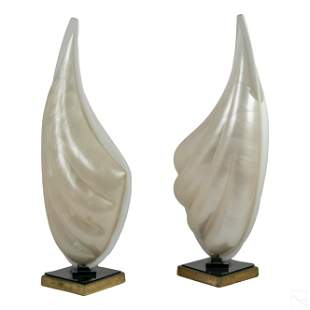 Roger Rougier Modern White Clam Shell Table Lamps