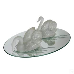 Lalique French Art Glass CYGNES Swans Centerpiece