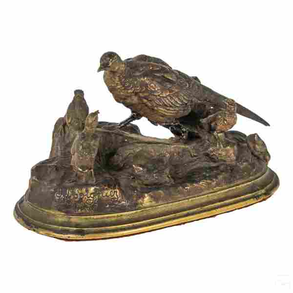 Jules Moigniez (1835-1894) Bronze Grouse Sculpture