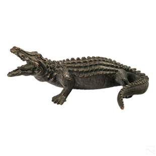 Austrian Antique Bronze Alligator Figure Sculpture