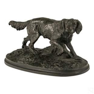 Bronze Antique English Hunting Hound Dog Sculpture