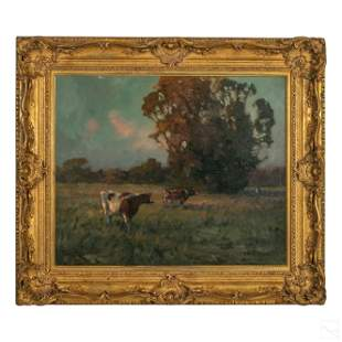 E.W. Roberts (1871-1927) Cattle Landscape Painting
