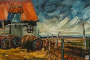 Canadian Regionalist Folk Art Landscape Painting