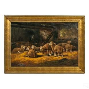 C.W. Hind Antique Pastoral Sheep Farm Oil Painting