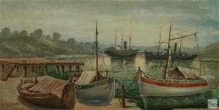 Anthony Thieme 1888-1954 Seascape Harbor Painting