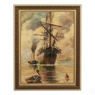 Edwardian RMS Titanic Era Signed Seascape Painting