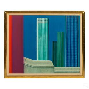 Jean Monneret b.1922 New York Skyline Painting COA
