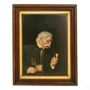 German 19C. Antique Smoking Gent Portrait Painting