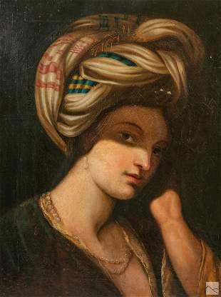 Antique Orientalist Portrait of Woman Oil Painting