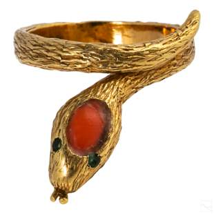 18K Gold Coral & Emerald French Snake Ring Size 4