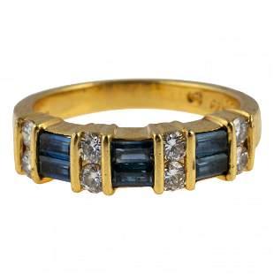 18K Gold Diamond & Sapphire Designer Signed Ring