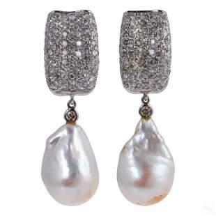 18K White Gold 2.25 CTTW Diamond & Pearl Earrings