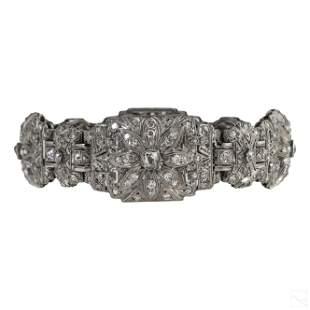 Art Deco 5 CTTW Natural Diamond Platinum Bracelet