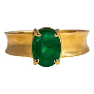 14K Gold Fine Natural 1 Carat Emerald Ring Size 6
