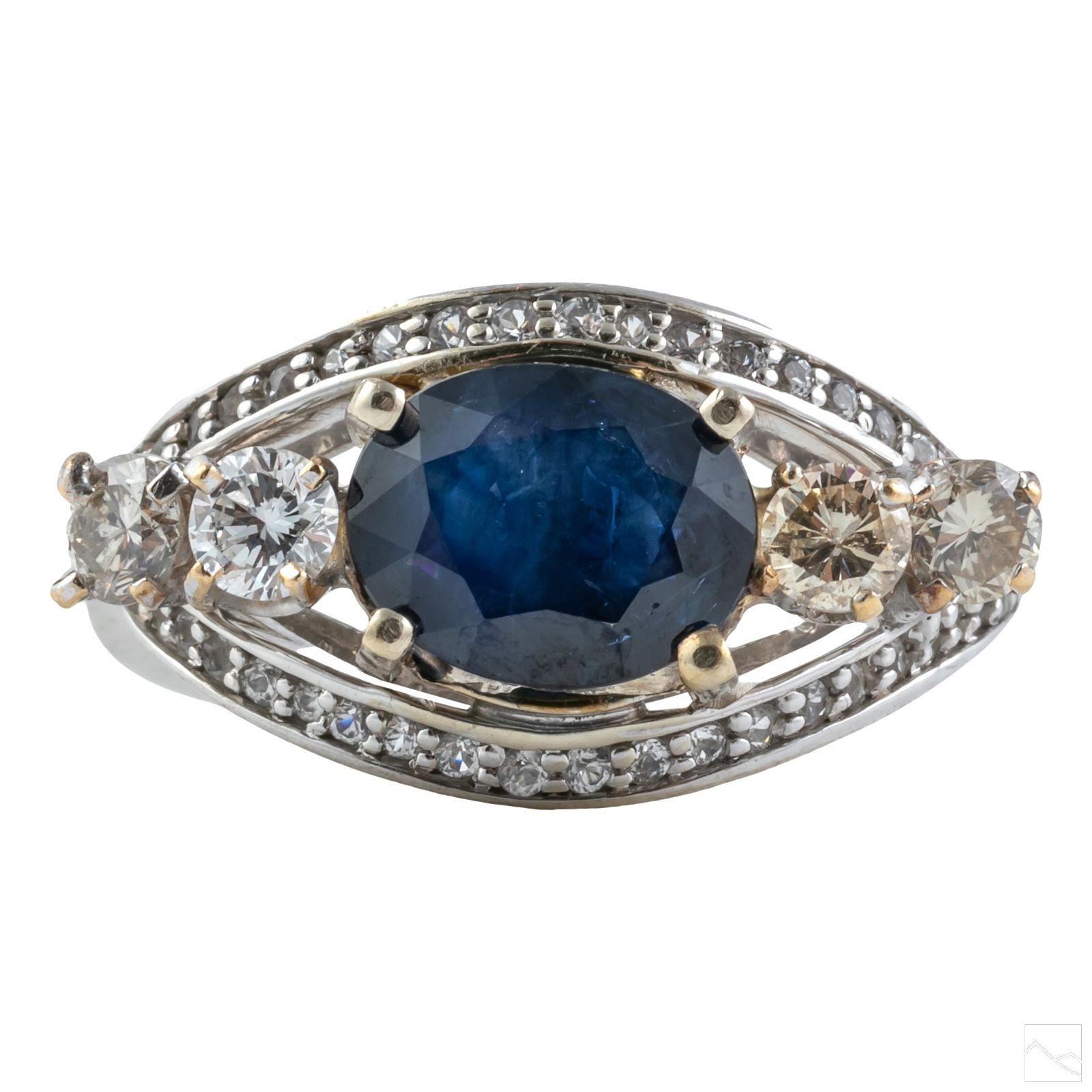 14K Gold Designer Natural Diamond & Sapphire Ring