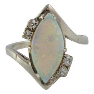 14K White Gold Retro Diamond and Natural Opal Ring