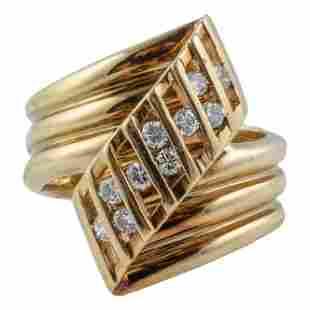 14K Gold Ladies Modernist Natural Diamond Ring Sz5